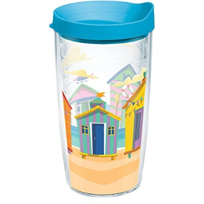 Tervis 1284928明るいCabanas Tumbler withラップとターコイズ蓋16オンス、クリア