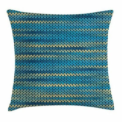 (50cm W By 50cm L, Multi 1) - Yellow and Blue Throw Pillow Cushion Cover by Ambesonne, Knitted...