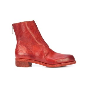 Guidi rear zip boots - レッド