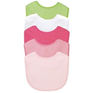 green sprouts 5 Pack Basic Waterproof Absorbent Terry Bibs, Girls by i Play [並行輸入品]