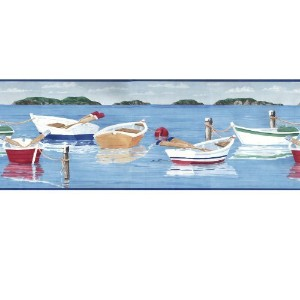 Lakeside Rowboats Prepasted Wall Border Roll by Seabrook Designs [並行輸入品]