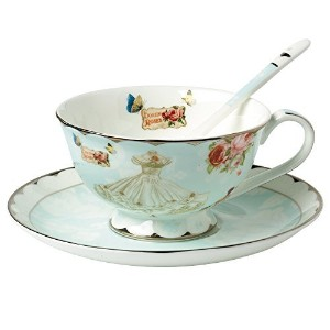 AWHOME British Blue Bone China Teacup Spoon and Saucer Boxed Set 7-Ounce(cup01) by AWHOME