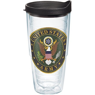 Tervis 1282390 Army Classic Seal Flex Tumbler with Emblem andブラック蓋24oz、クリア
