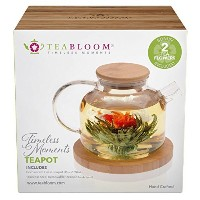 teabloom Flowering Teaセット – 12 Blooming Tea花 – Hot & Cold醸造スタッカブルティーポット Bamboo Teapot + 2 Tea...