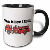 3drose Dooni Designs面白いとユーモアデザイン–This is How I Roll Fire Truckデザイン–消防士マグカップ 11-oz Two-Tone...