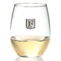 Personalized Stemlessワインガラス–ノベルティギフト–Pick Your Letter Crest 21 oz クリア