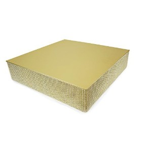 Bling, Wedding Cake Stand/ Drum (16'' Square, Soft Gold) by OCCASIONS FINEST PLASTIC TABLEWARE