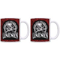 DadギフトSome Boys Become Men Few Become Linemenギフトコーヒーマグティーカップ 11オンス