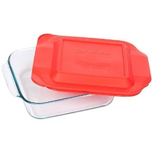 Pyrex 8インチ正方形ガラスBaking Dish with Red Lid