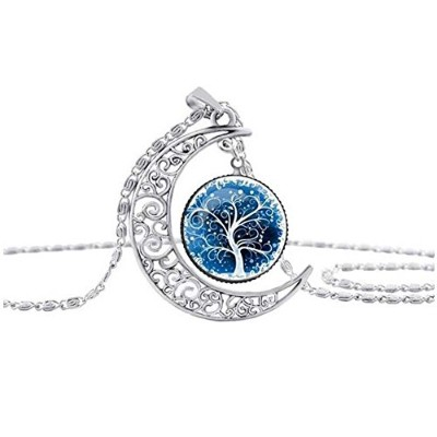 Gerger Bo Women 's Tree of Life Moon Hollow Carved宝石ネックレスセーターチェーン