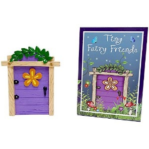 Spirit Of Equinox Purple Resin Fairy Door With Flower Cute Ornament Gift Boxed