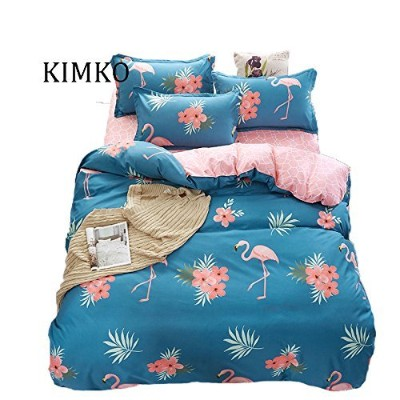 (King, Flamingo) - Kimko Kids Flamingo Bedding Set- Children Reversible Pink Flamingo Pattern &...