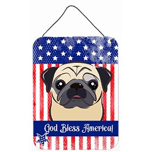 Caroline 's Treasures bb2192ds1216 God Bless American Flag with Fawn Pug壁またはドアHanging Prints...