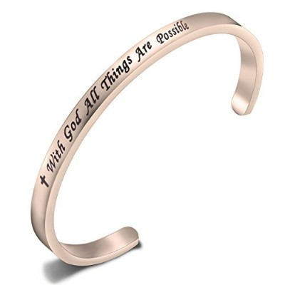 feelmem Matthew 19 : 26 With God All Things Are Possible Faithカフバングルbracelet- Religious jewelry-...