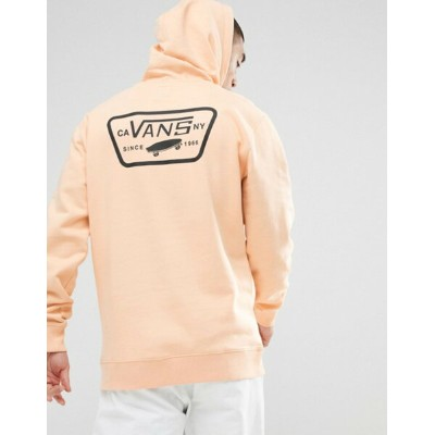 バンズ メンズ パーカー・スウェット アウター Vans Full Patched Hoodie With Back Print In Orange VA2WF7P1J Orange