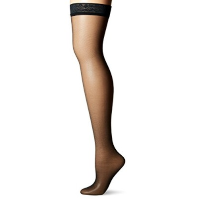 Hanes 720 Womens Silk Reflections Silky Sheer Thigh High Size - EF, Jet Black