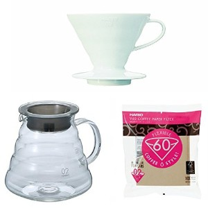 Hario v60シリーズガラスケトル、Dripper with Measuring Spoon & 100用紙フィルタ販売Together