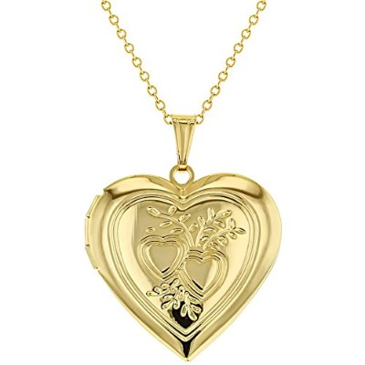 Gold Plated 14k Love Large Heart Photo LOCKET Necklace Pendant Memory Charm Gift