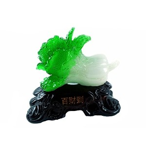 Feng Shui Bai Choi / Pok Choi ( The Cabbage ) Statue for Wealth Luck ( with a Betterdecorバッグ)