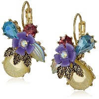 Betsey Johnson Spring Ahead Mixed Flower and Stone Clusterドロップイヤリング
