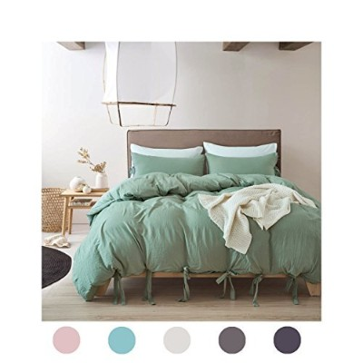 (Twin, Dark Sea Green) - Moreover 3 Pieces Green Bedding Dark Green Duvet Cover Set Bow Tie Design...