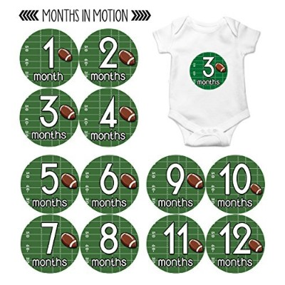 Months in Motion 812 Monthly Baby Stickers Football Baby Boy Month 1-12 Milestone Age Sticker Photo...