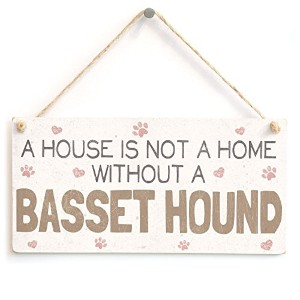"""meijiafei A House Is Not A Home Without A Basset Hound–かわいい犬PVC Sign / Plaque 10"""" x5"""""""