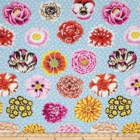 Kaffe Fassett Collective Big Blooms Duckegg Fabric By The Yard by WESTMINSTER/ROWAN [並行輸入品]