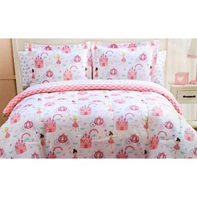 # Bedtime Twin Bed in a Bag with CoordinatingシートセットFairytale Princess Doodlesガールズリバーシブル掛け布団5Piece