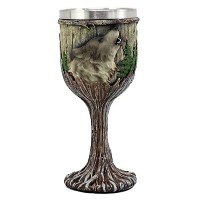 EbrosギフトMystical Howling Gray Wolf Wine Goblet 7oz Chalice Cup in Rustic Wood Bark Rootsデザイン