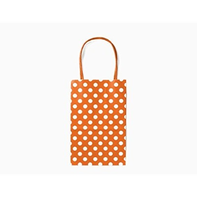 12CT SMALL ORANGE POLKA DOT BIODEGRADABLE, FOOD SAFE INK & PAPER, PREMIUM QUALITY PAPER (STURDY & THICKER), KRAFT BAG WITH COLORED STURDY HANDLE (Small, P.Orange) by Gift Expressions