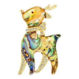 CharmsstoryキュートAbalone Shell Deer with Clear合成クリスタル動物ブローチ、ピンブローチ