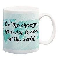 Be the Change You Wish To See In The World Map TealコーヒーマグTravel Quote Cup 11オンス