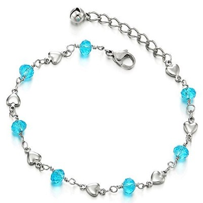 Stainless Steel Anklet Bracelet with Hearts and Blue Acrylic Crystal Beads
