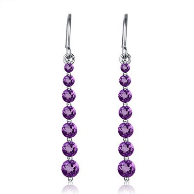 2.5Ct White Gold Natural Amethyst Drop Dangle Earrings 1.3' Long Hook Earrings for Women