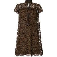 William Vintage 1967 shortsleeved lace dress - ブラウン