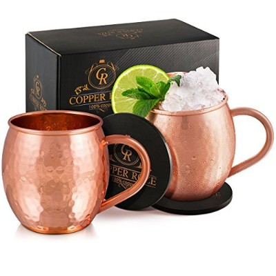 Copper Roze Moscow Mule Copper Mugs Gift Set of 2, 100% Pure Solid Copper Cups with Hammered Finish...