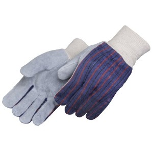Liberty 3863 Regular Shoulder Split Leather Palm Men's Clute Pattern Glove with White Knit Wrist ...