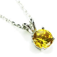 """cz-solitaireネックレス、citrine-colored CZ、18"""""""