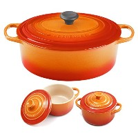 Le Creuset Signature Flame Enameled Cast Iron 6.75 Quart Oval French Oven with 2 Free Stoneware...