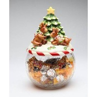 I Believe : Playingトナカイwith Tree onガラスCookie Jar Collectible