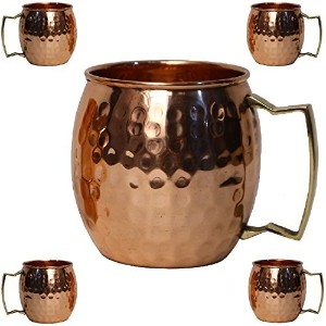 staglife Moscow Mule 100 % Solid Pure Copper裏地なしMug / Cup With銅ハンドル( 473ml /ギフトセットの4、Hammered ...
