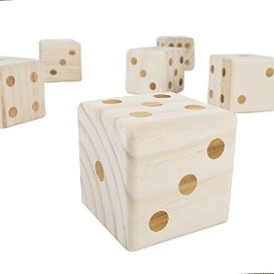 Jumbo Wooden Yard Dice Set - Includes Six Dice and Carrying Case!