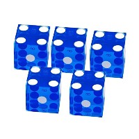BiiクラシックカジノGrade A Dice Set Of 5Serialized 19mm for Games Craps品質ブルー