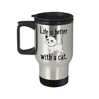 Life Is Better With A Cat、かわいい猫コーヒー旅行マグ、ステンレススチールタンブラー、Funny Cat Loverギフト