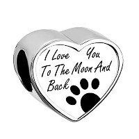 CharmsstoryハートペットPaw I Love You To The Moon And Backシルバーメッキのチャームビーズブレスレット
