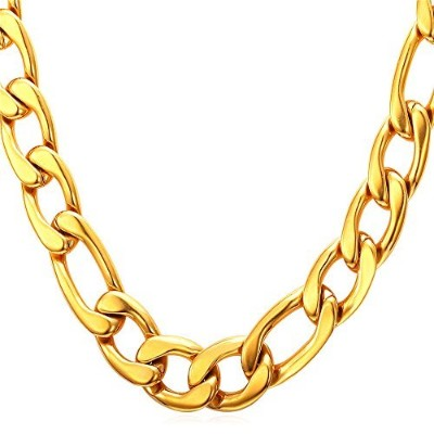 (30.0 inches, 12mm wide-18K Gold Plated Base Metal) - U7 Figaro Chain Link Necklace, Gold/Black Plated, Width 5mm, 9mm, 12mm, Length 18 inch to 30 inch, Stainless Steel Classic Men Jewellery Hip Hop Necklace