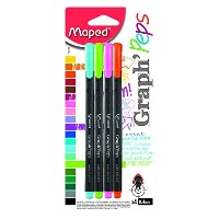 Maped 749143 0.4 mm Graph Peps Felt Tipped Pens, Assorted Color - Pack of 4