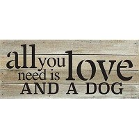 All You Need Is Love and A犬14x 6木製パレットデザイン壁アートサイン