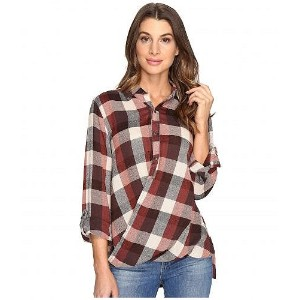 Blank NYC ブランクエヌワイシー レディース 女性用 ファッション ボタンシャツ Blank NYC ブランクエヌワイシー Multi Plaid Drape Front Shirt in Whiskey Brown - Whiskey Brown